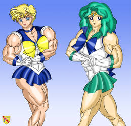Sailor Uranus and Sailor Neptune by LordKelvin