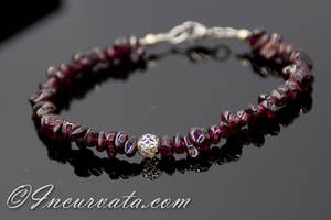Garnet and Silver Filigree Bracelet