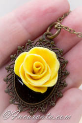 Dimensional Yellow Rose Polymer Clay Pendant