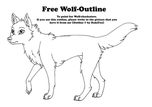 Free Wolfoutline 02 by RukiFox