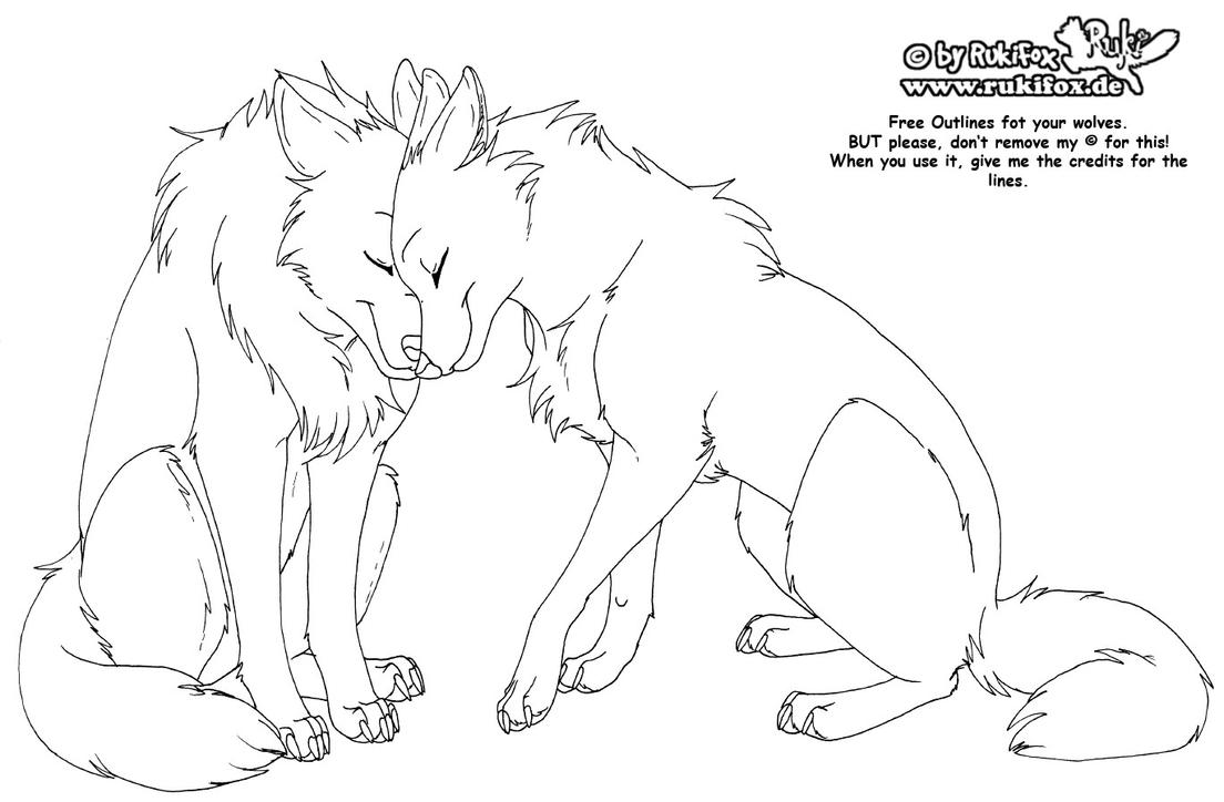 Wolves free outline by rukifox on deviantart for Timberwolves coloring pages
