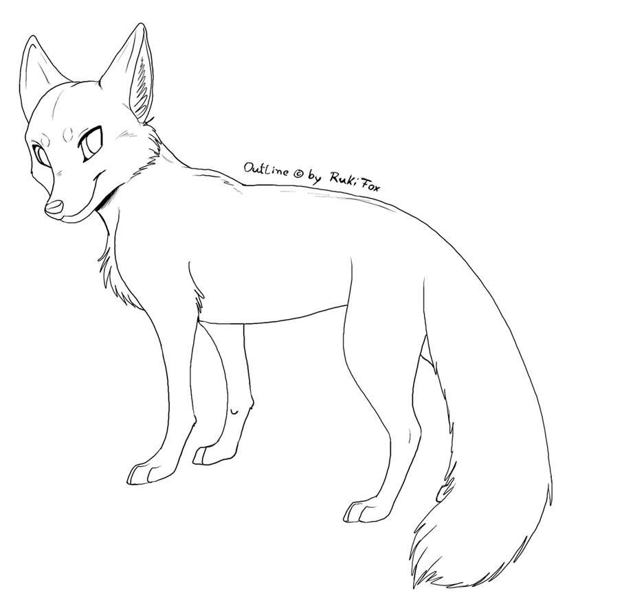 template of a fox - furry body coloring pages
