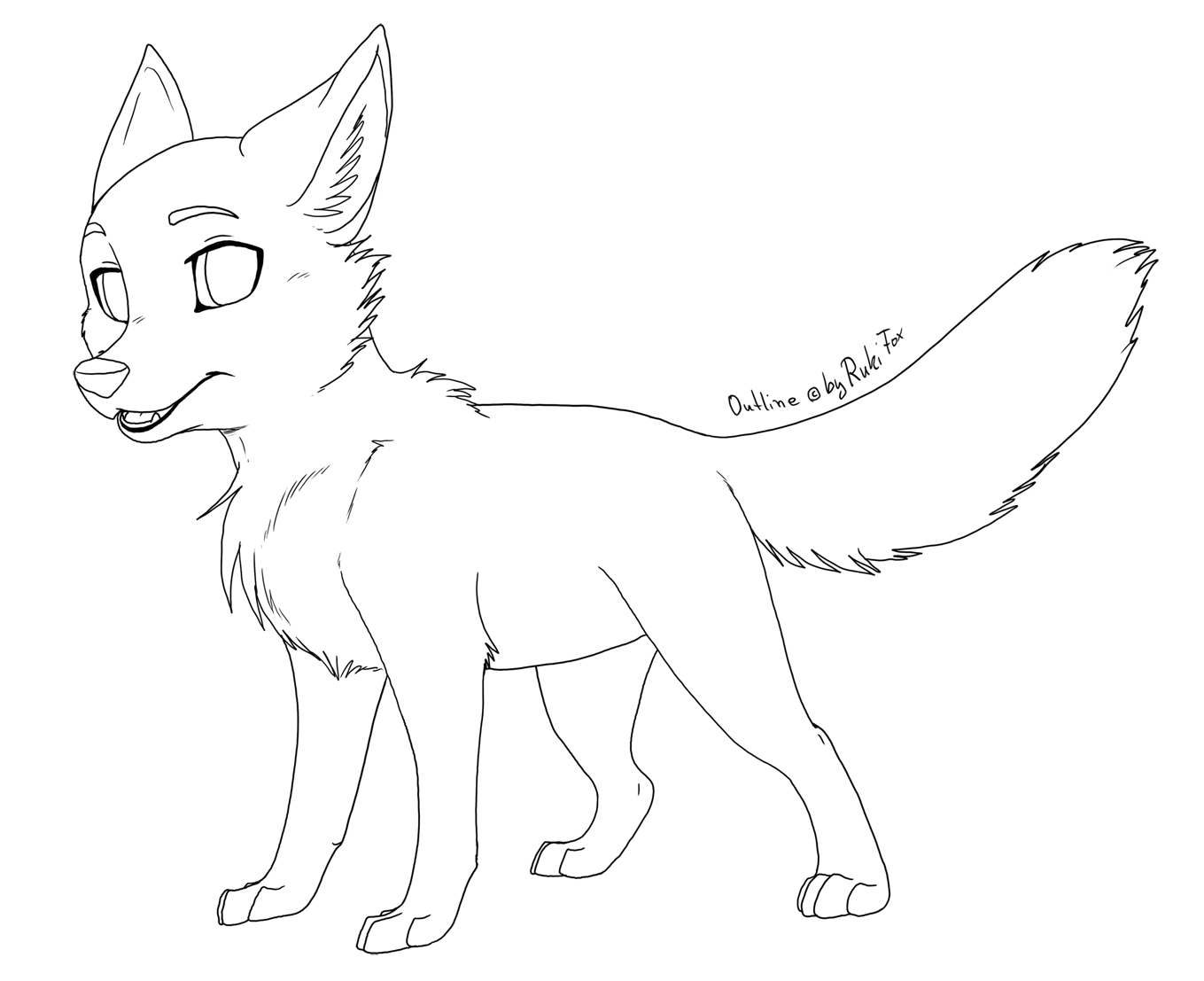 Anime Wolf Pup Outline