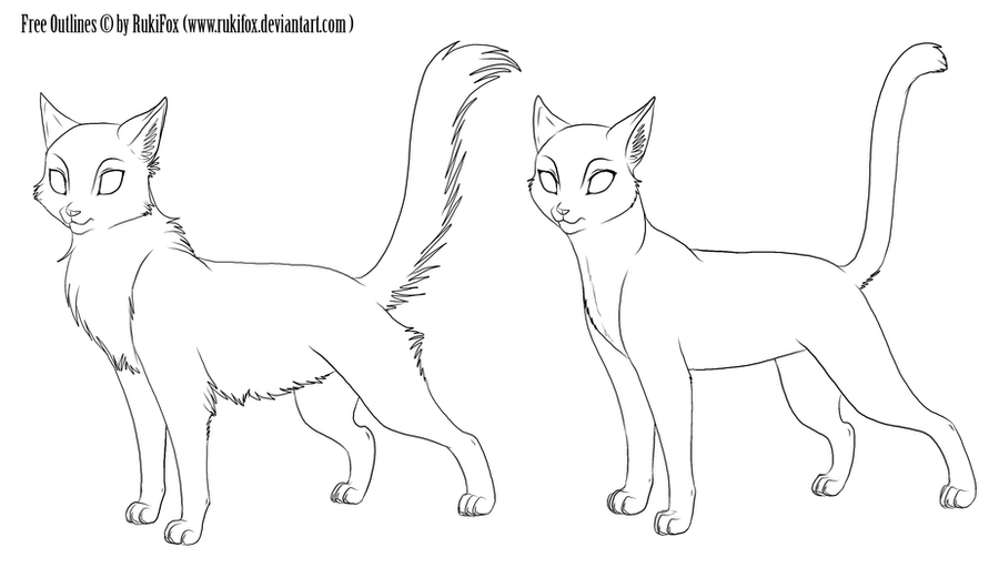 Free Cat outlines by RukiFox Sad Warrior Cat Outlines