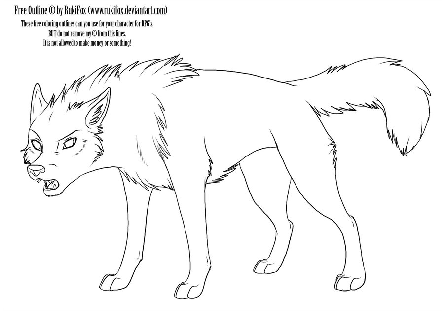 adult wolf outline by rukifox on deviantart. Black Bedroom Furniture Sets. Home Design Ideas