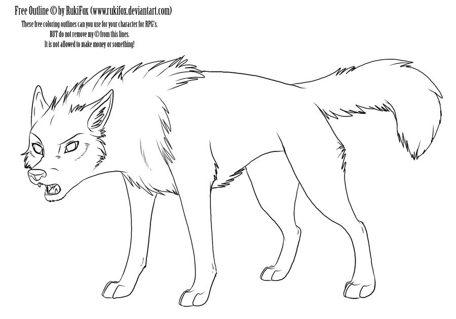 adult wolf outline by rukifox on deviantart. Black Bedroom Furniture Sets. Home Design Ideas