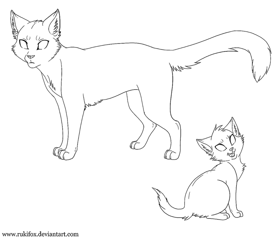 Adult Cat And Kitten Template Paint By Rukifox On Deviantart