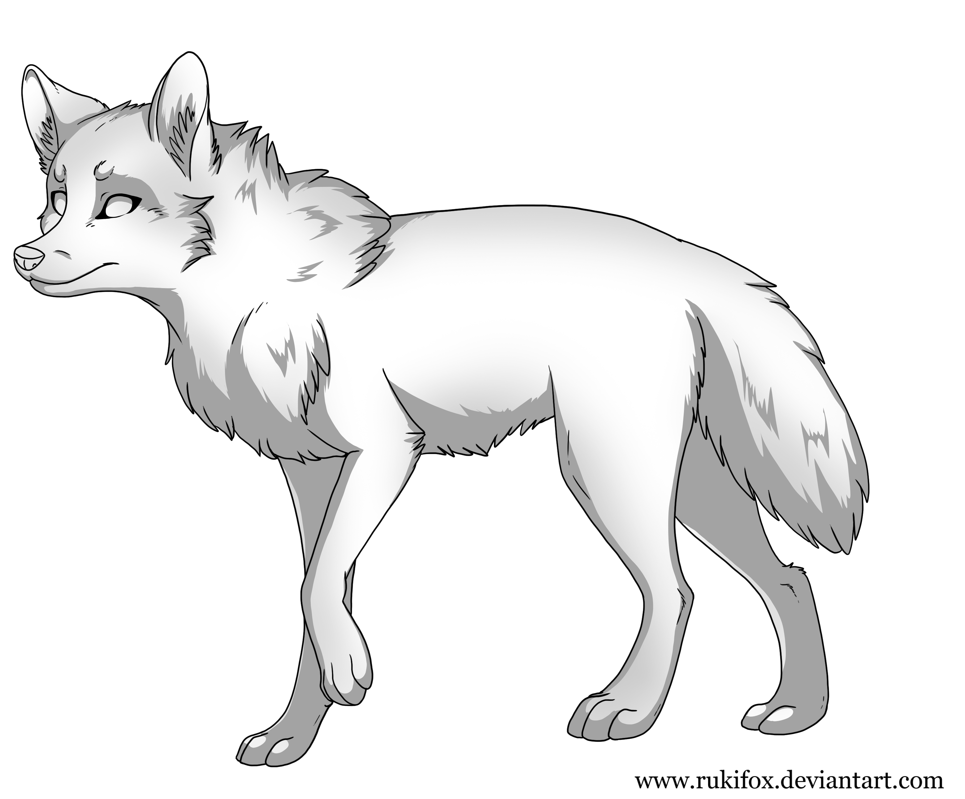 Wolf Lineart : Wolf template with shadow by rukifox on deviantart