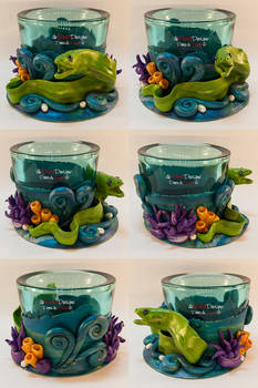 Turquoise Tealight Glass with a Moray Eel