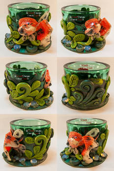 Green Tealight Glass with Veiltail Goldfish