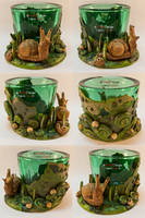 Green Tealight Glass with a Snail by spaceship505