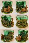 Green Tealight Glass with a Snail