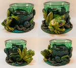 Green Tealight Glass with a Frog