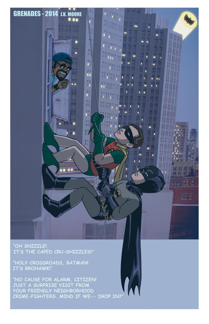 BATMAN and ROBIN meet BROHAWK! by Jerome-K-Moore