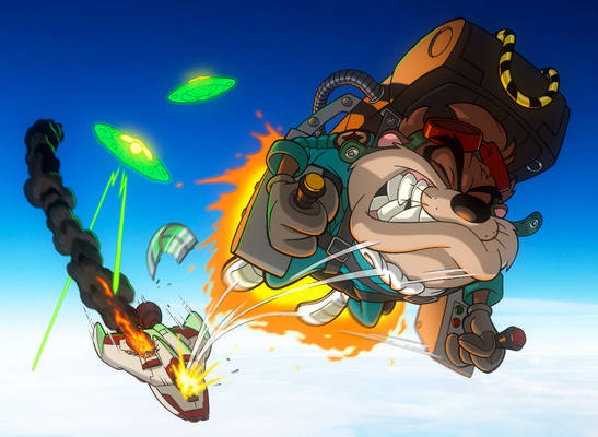 TAZ IN SPACE: TAZ IS HIT! EJECT!