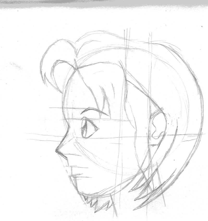 Rough Sketch Anime Face Profile By Kingofturves On DeviantArt