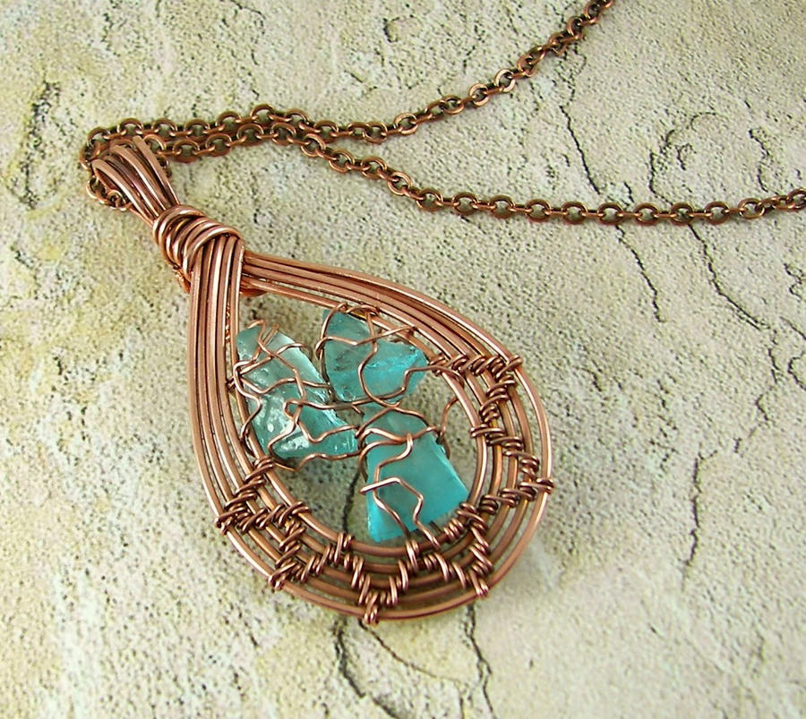 Copper and Sea Glass Necklace by DesertShineJewelry