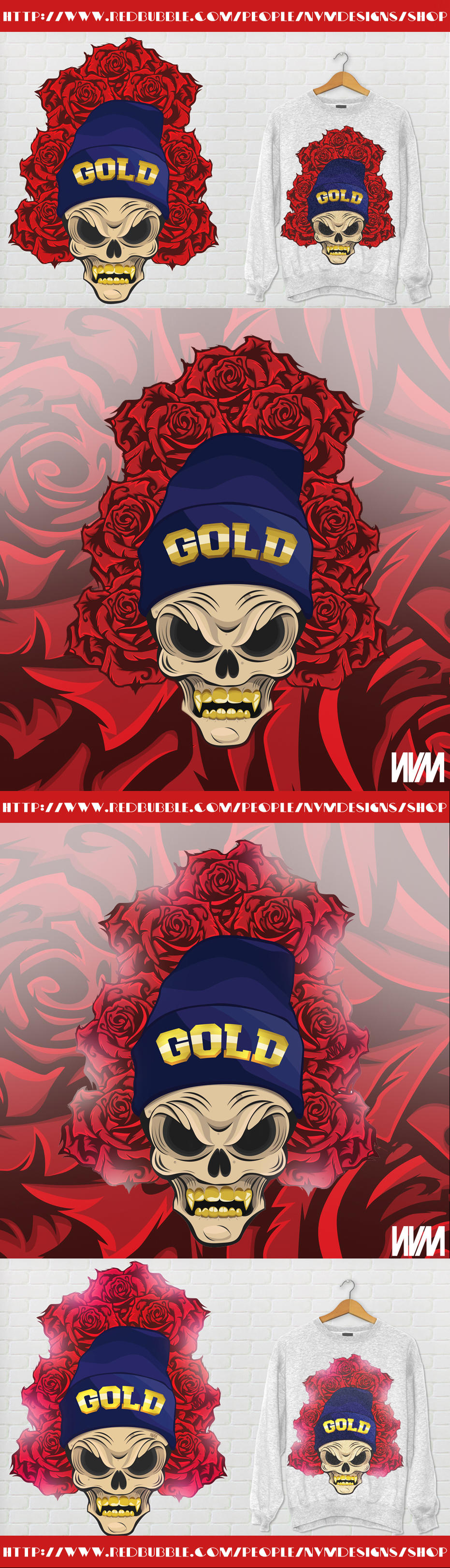 Skull N Roses t-shirt design by LazyN