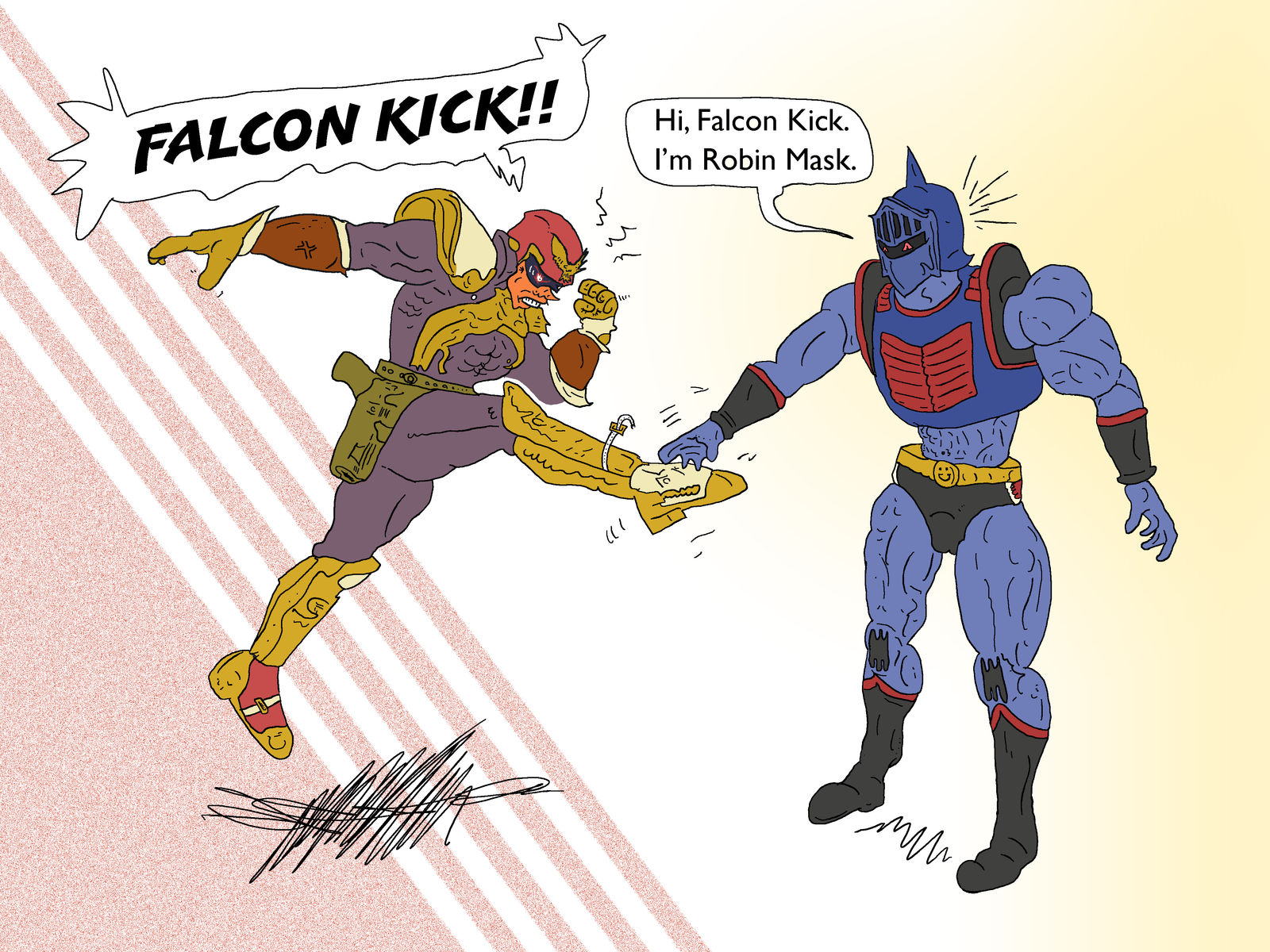 Captain Falcon Versus Robin Mask by SnD-Frostey