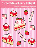 S. Strawberry Delight Sticker Designs by MidniteHearts