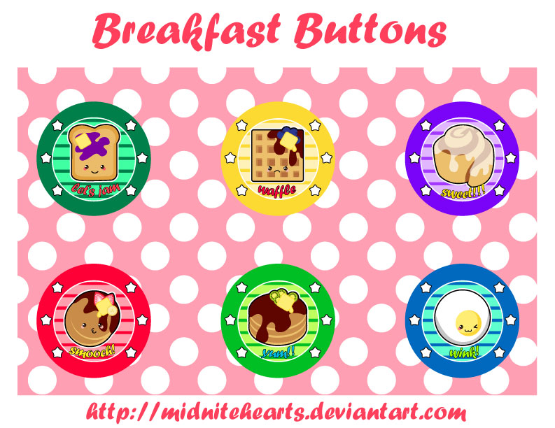 Breakfast Button Designs by MidniteHearts