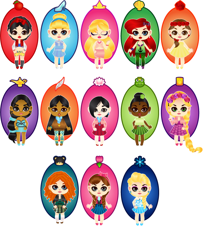 Chibi Disney Princesses by MidniteHearts