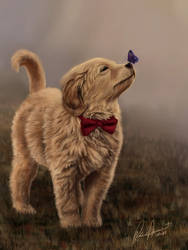 Painting of Golden Retriever Puppy