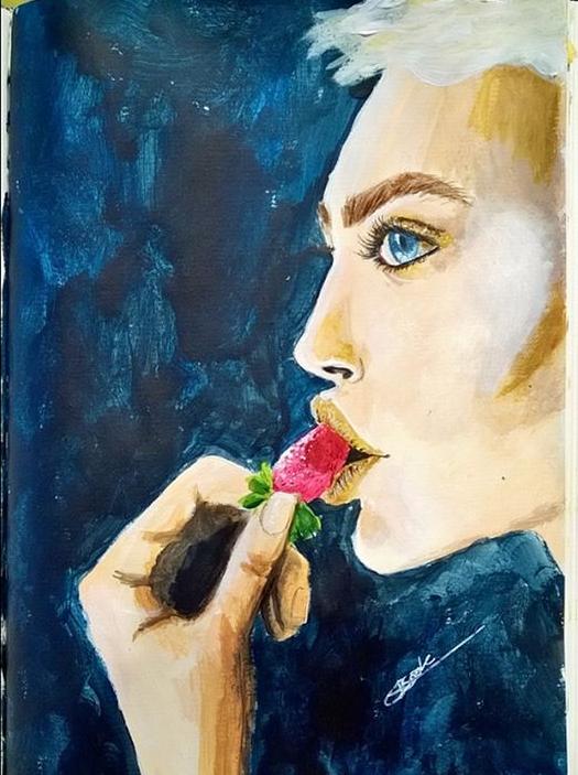 Female Portrait - Acrylic paint by Bookovore