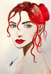 Female  Portrait - Aquarelle paint