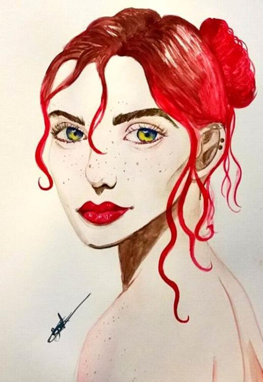 Female  Portrait - Aquarelle paint by Bookovore