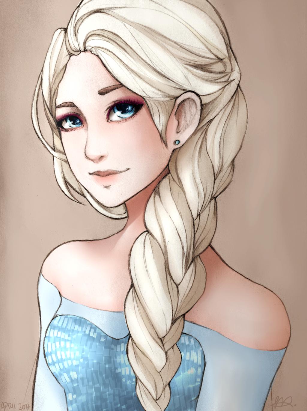 Queen Elsa (BUY AS PRINT - SEE DESC.) by Maxxie-Delu