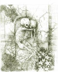 sketeton of the drawing by tonysandoval