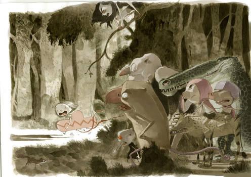 monstruos en el bosque