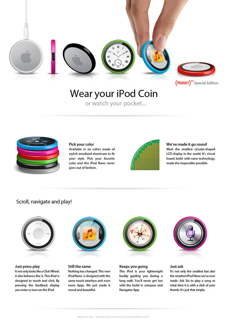 Apple iPod Nano Coin pocket watch mockup by Leconte