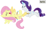 (Request) Rarity tickles Fluttershy by MareTrick