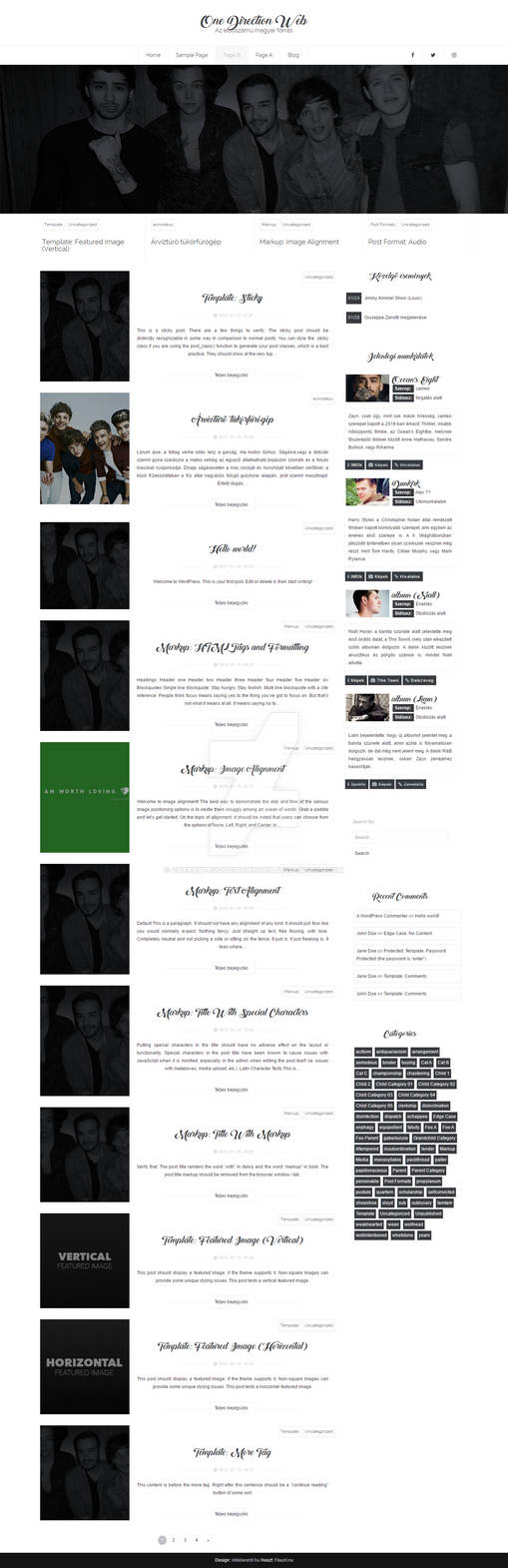 One Direction Wordpress theme