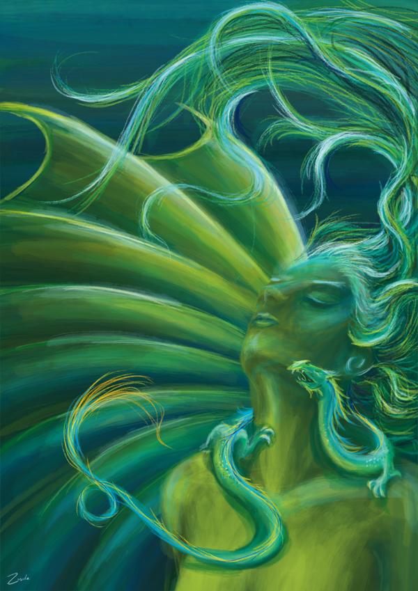 Green dragon by Zinita