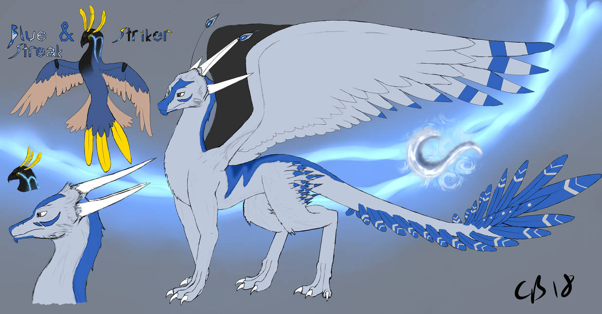Blue Streak and Striker (Dragonified) by JackandDraco