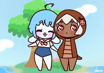 Animal Crossing Chelsi and Tsuki holding hands