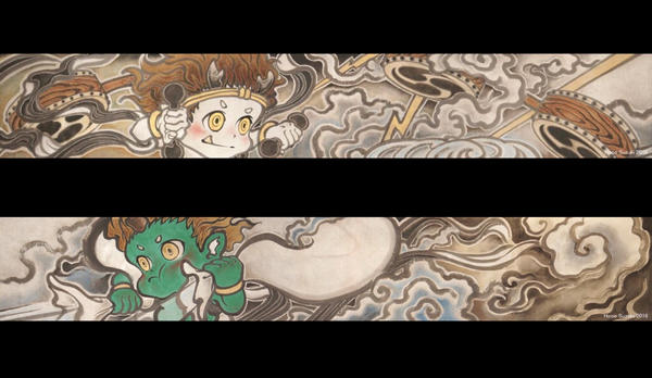 Wind god boy and Thunder god boy picture scroll by Hiroo-Suzuki
