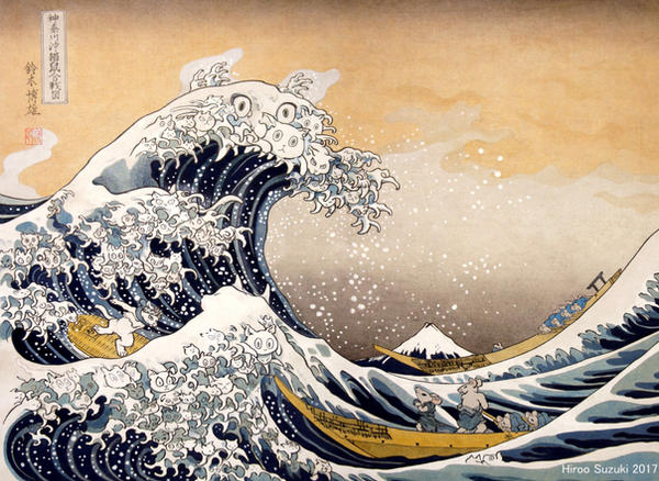 Kanagawa's sea battle of cats and rats by Hiroo-Suzuki