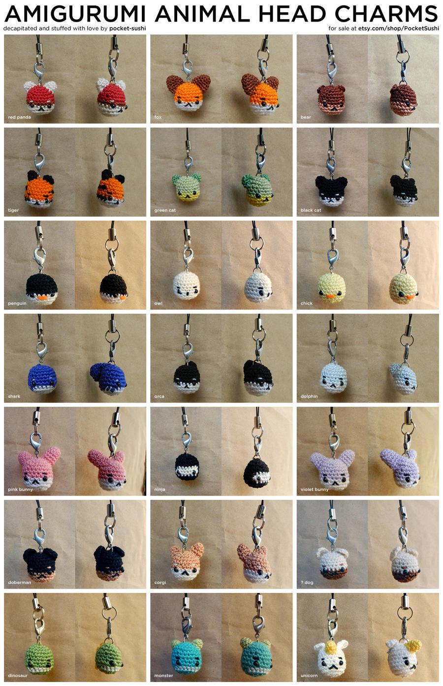 Amigurumi Animal Head Charms by pocket-sushi on DeviantArt