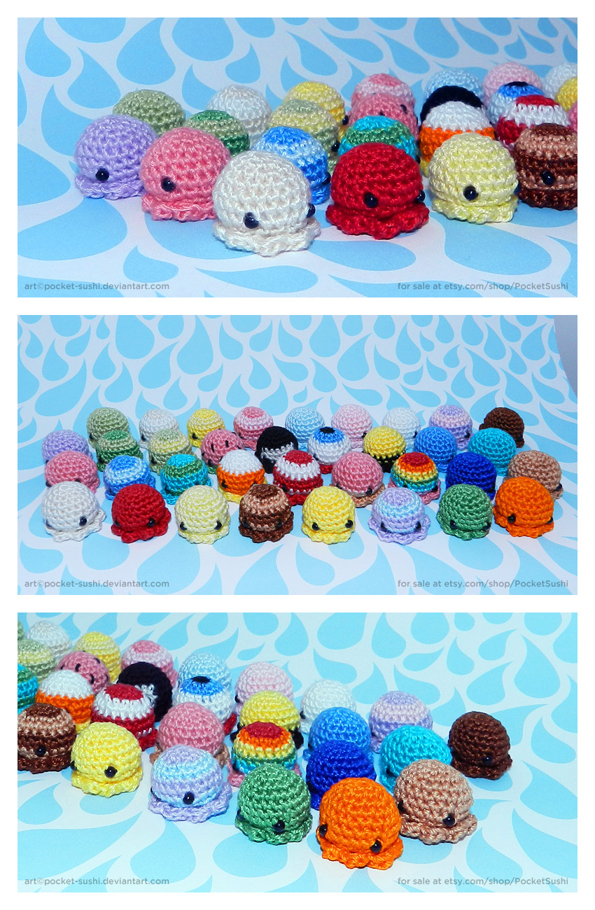 MiniPus - Amigurumi Mini Octopuses by pocket-sushi
