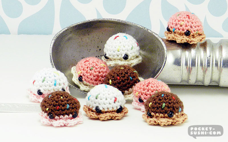 Ice Cream MiniPus - Amigurumi Mini Octopi by pocket-sushi