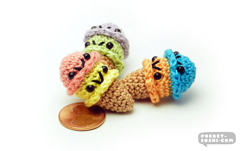 Ice Cream Scoops - Miniature Amigurumi Dessert by pocket-sushi