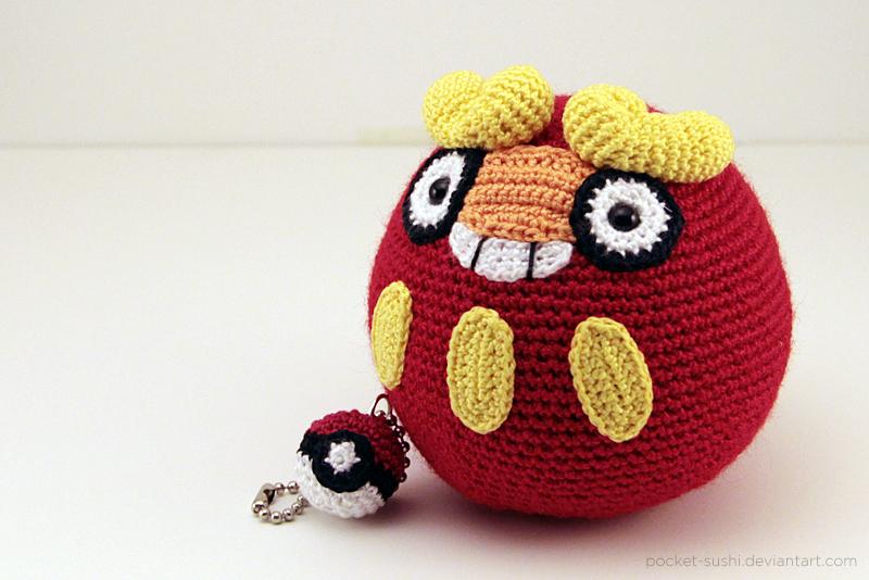 Amigurumi Forum Net : Amigurumi darumaka with pokeball keychain by pocket sushi on deviantart
