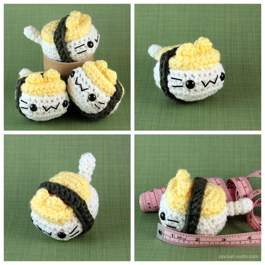Amigurumi Sushi Cat : Tamago Nigiri Cat by pocket-sushi on DeviantArt