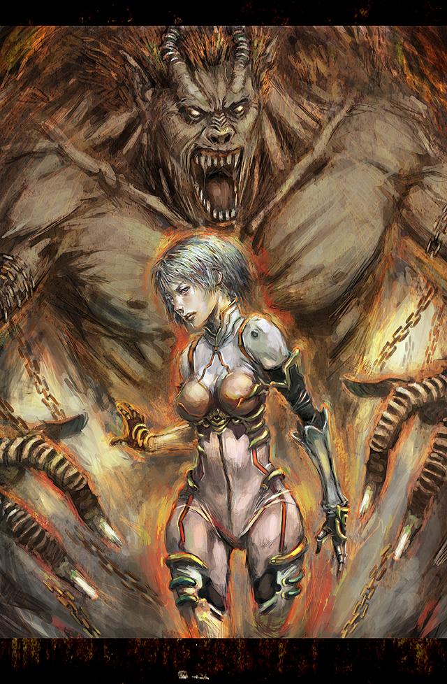 Girl and monster