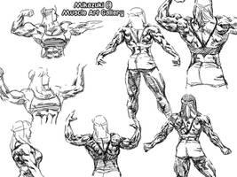 Back Muscle Anatomy Study by MikazukiArt