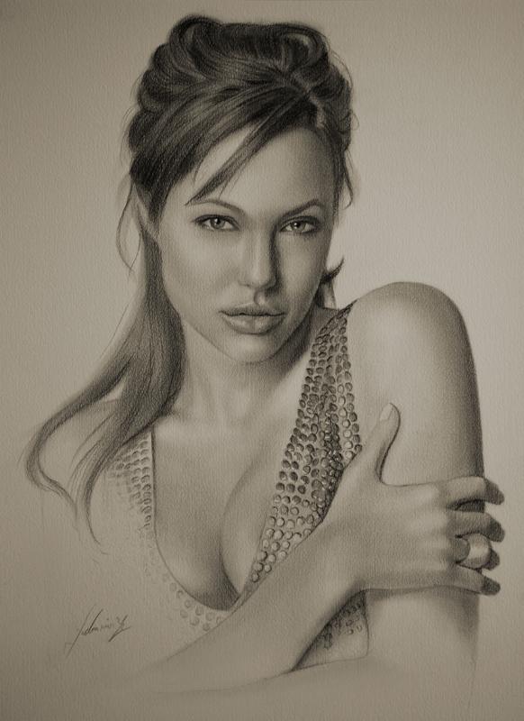 Анжелина Джоли. Карандашные портреты Кристофа Лукашевича